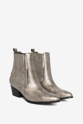 Loavies Boots : https://www.loavies.com/nl/grijze-metallic-enkellaarsjes-met-slangenprint.html