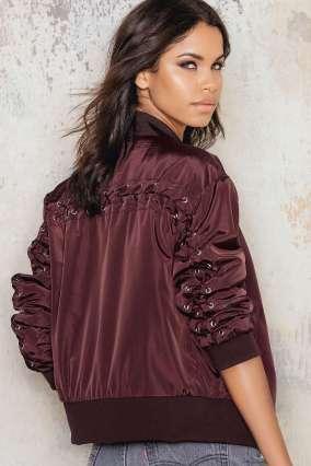 Nakd Fashion - https://na-kd.com/products/jackets/lacing-bomber-jacket-burgundy